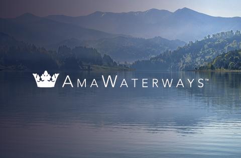 Logo Naviera Fluvial Amawaterways para cruceros por río con Mundomar Cruceros