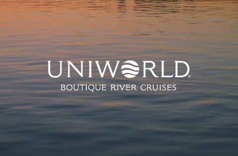 Logo de Naviera Fluvial Uniworld para cruceros por río con Mundomar Cruceros